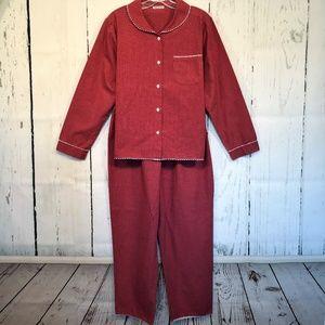 VTG Anna New York Pajamas M Red Cotton Gingham